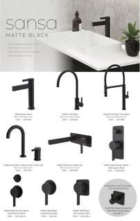 Fienza Sansa Range tapware shower accessories