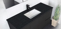 SARAH BLACK SPARKLE Stone Tops. Available in 750, 900, 1000, 1200, 1500, 1800mm