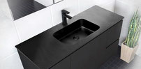 MONTANA Matte Black Solid Surface basin tops.  Available in 750, 900, 1200mm