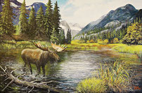 Elch am Fluss 40 x 60