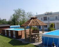 Exposition permanente pour vente piscine hors sol laghetto tubulaire autoportee piscine luxe nimes près uzès