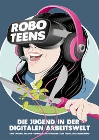 """Syndicom Tagung """"Die Jugend in der Digitalen Arbeitswelt: Planung und Bildkonzepte,  Illustration, Design, Layout/Gestaltung Flyer A5 Syndicom"""