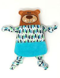 Schnüffel- Tuch Teddy Bär aus Ökologischen Plüsch und Nicki, 20cm