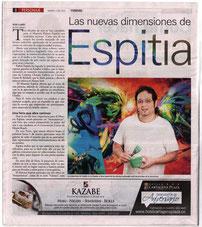 "Master Rafael Espitia is Showing in ""ARTEAMERICAS 2012"" three acrylics on canvas: ""Beautiful Fight"", ""Dude"" and ""Beginning"".  El Universal Journal  By Heidi Llanes."
