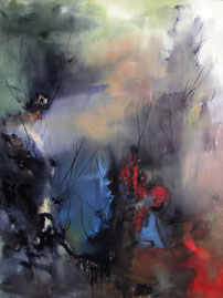 三秋树 THE THREE 200X100CM 布面油画 OIL ON CANVAS 2006 (收藏于台湾 COLLECTED IN TAIWAN)