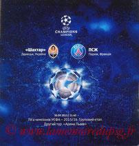 Programme  Shakhtar Donetsk-PSG  2015-16