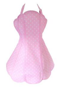 Weiss gepunktete Retro Schürze in pink