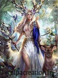 broderie diamant déesse de la forêt