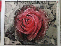 broderie diamant rose fleur