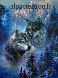 broderie diamant les loups