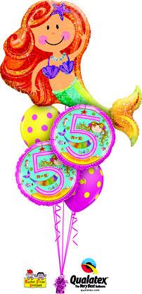 Folienballon Ballon Luftballon Heliumballon Strauß Ballonstrauß Bouquet Geburtstag Junge Mädchen 1 2 3 4 5 6 Rachel Ellen Punkte pink  Kindergeburtstag Deko Dekoration Mitbringsel Überraschung Party Feier Meerjungfrau Nixe Versand verschicken