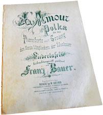 L'Amour Polka, Московскому обществу Лидертафель, Франц Бауэр, ноты для фортепиано