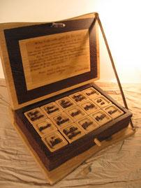 Coffret personnalisé en bois, avec dédicace et cubes.CCL ébéniste.