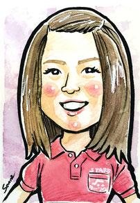 手描きのカラー似顔絵 若い女性