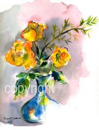 gelbe Rosen in blauer Vase