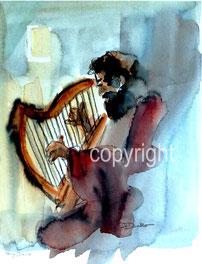 König David Aquarell Harfe