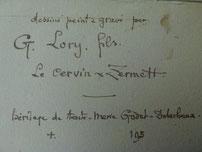 G. Lory. fils. le Cervin Zermatt