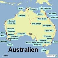 Bild: Reiserouten der Rundreisen durch Australien