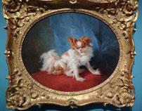 """Jean-Baptiste Huet, Portrait de chien papillon, 1778, Musée Cognac-Jay, exposition """"Le plaisir de la nature"""""""