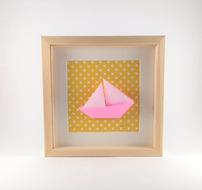 cadre mural origami bateau cadeau naissance decoration chambre enfant
