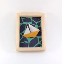Cadre origami Bateau - Format 13x18cm - 25€