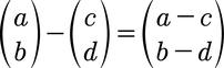 Formel für die Vektorsubtraktion von 2D Vektoren