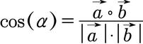 Formel zum Berechnen eines Winkels zwischen zwei Vektoren