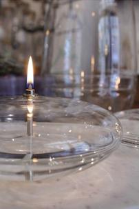 lampe à huile galet, lampe à huile ellipse, bougie à huile en verre, bougie galet, lampe en verre galet