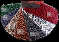 MERTEX-Autofussmatte Oslo, Oberflächenstruktur: Velours 100% Polypropylen Gesamtgewicht: ca. 3.300 g/qm Vinylrücken textiler Hackenschutz/Trittschutz   Farbe: rot, schwarz/weiß, anthrazit, terra, braun oder blau