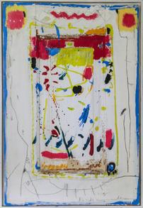 """Hans Mendler """"Fisch"""" 4. 1995, 49 x 77 cm Acryl auf Holz. Preis: 1200.-€"""