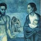 パブロ・ピカソ「人生」(1903年)。「青の時代」の集大成ともいえる作品。左側にカザジェマスと愛人ジュルメール、右側に子供を抱く痩せた母親を描き、間に失意と絶望を感じさせる二枚の絵が挟み込まれている。