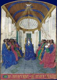La Pentecôte, Heures d'Étienne Chevalier, enluminées par Jean Fouquet