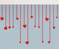 Hanging Hearts vinyl wall art sticker