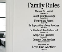 Family Rules Love One Another vinyl wall art quote