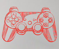 Hand drawn game-pad game controller PS2 wall art sticker