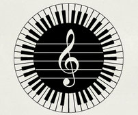 88 Piano keys in a circle around a clef