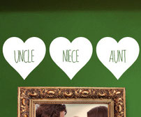 Aunt & Uncle Love Hearts, vinyl decals