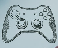 Hand drawn game controller xbox wall art decal