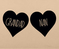 Nan and Grandma love heart decal