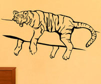 Awake and Sleeping Tigers on a branch