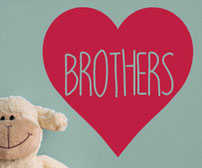 Brother and Brothers love heart vinyl wall art decals