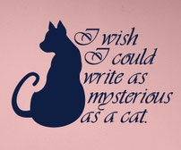I wish I could write as mysterious as a cat sticker