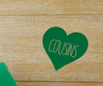 Cousin and Cousins vinyl decal love hearts