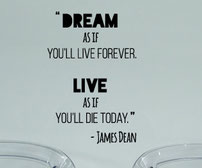 James Dean Dream as if you'll live forever live as if you'll die today vinyl wall art quote.