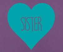 Sister and Sisters vinyl decal love hearts