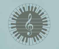61 Piano keys around a circle with a treble clef in the middle.
