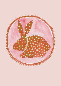 Grußkarte Hase rot Ostern