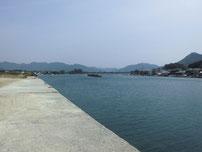 橋本川河口 右岸の護岸の写真