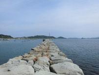 角島 尾山港 外波止・石積み部分の写真