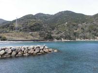 飯井港 左側・砂地と地磯の写真